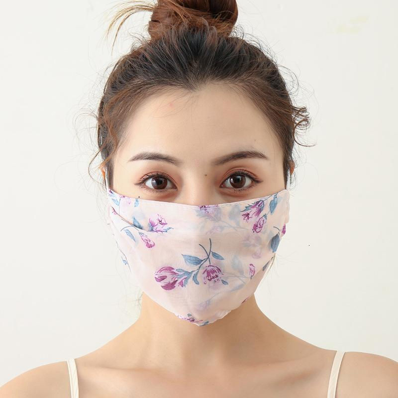 New Printed Chiffon Mask for Women In Summer Sunscreen Breathable Stereo Protective Mask Adjustable Ear-type Dust Control