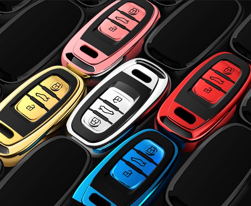 Senauto Quicksand Key Fob Cover Case Keychain for Audi A1 A3 Q3 Q7 R8 S3 S6 RS3 TT 3 Button Flip Key