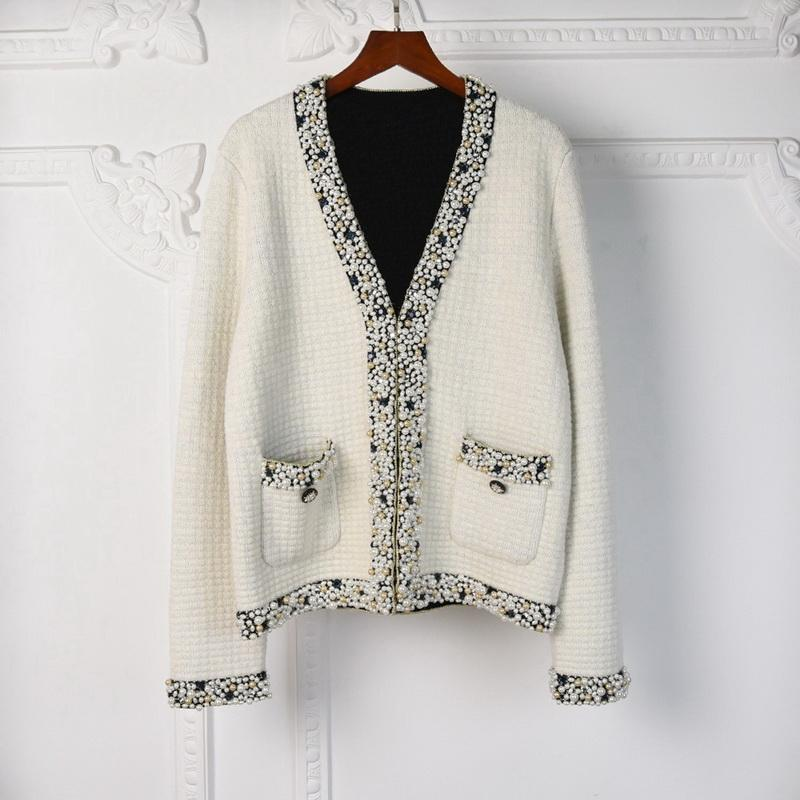 Women Men Winter Cardigan Women Sweater Wool Blended Blouse Woman Knitwear Ladies Knitted Top Casual Coat V Neck Cardigan Causal Outfit Bead