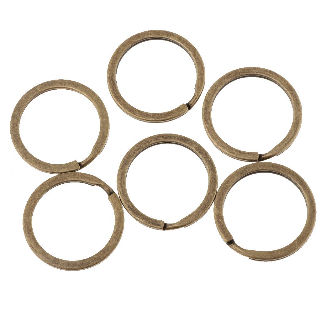 100pcs 28mm Vintage Flat Split Key Rings Keychain For DIY Accessories