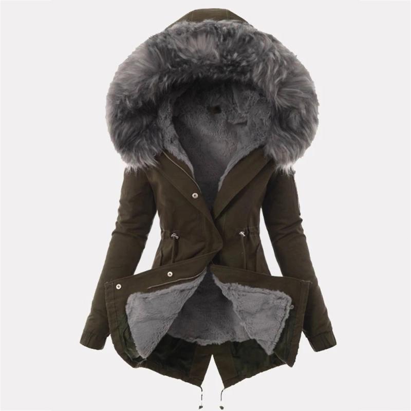 2019 New Parkas Female Women Winter Coat Thickening Cotton Winter Jacket Womens black faux fur Outwear Parkas for Women1