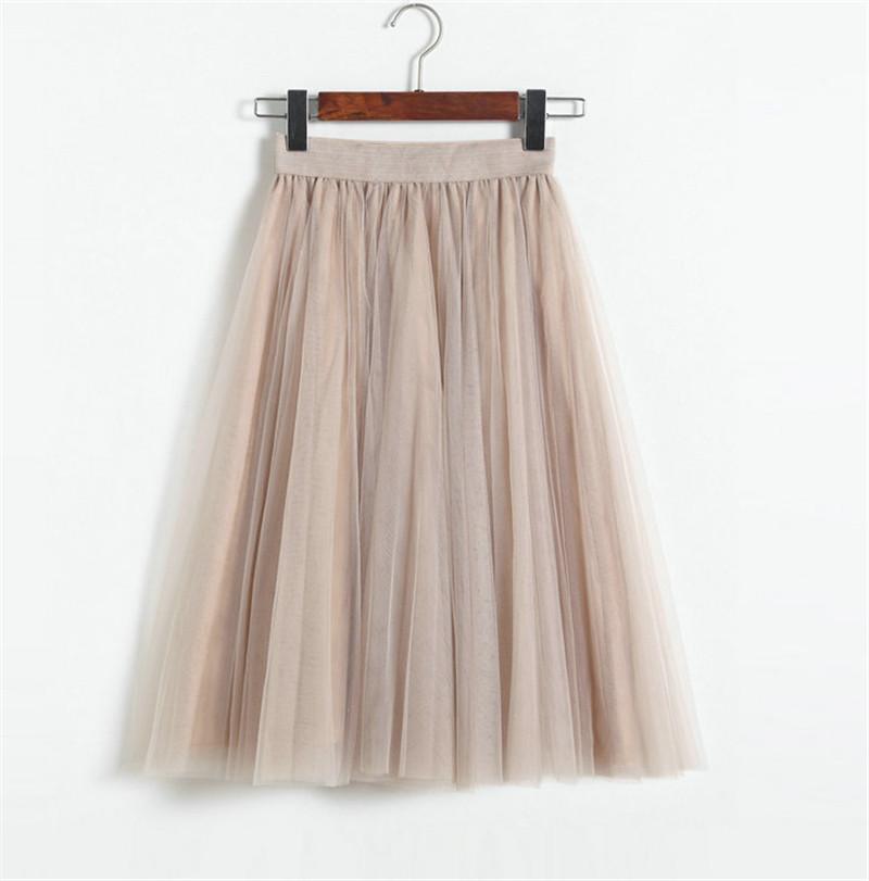 Vintage Women Tulle Skirt 2020 Autumn Elastic High Waist Mesh Skirts Long Pleated Tutu Skirt Female Jupe Longue JX8042 (1)