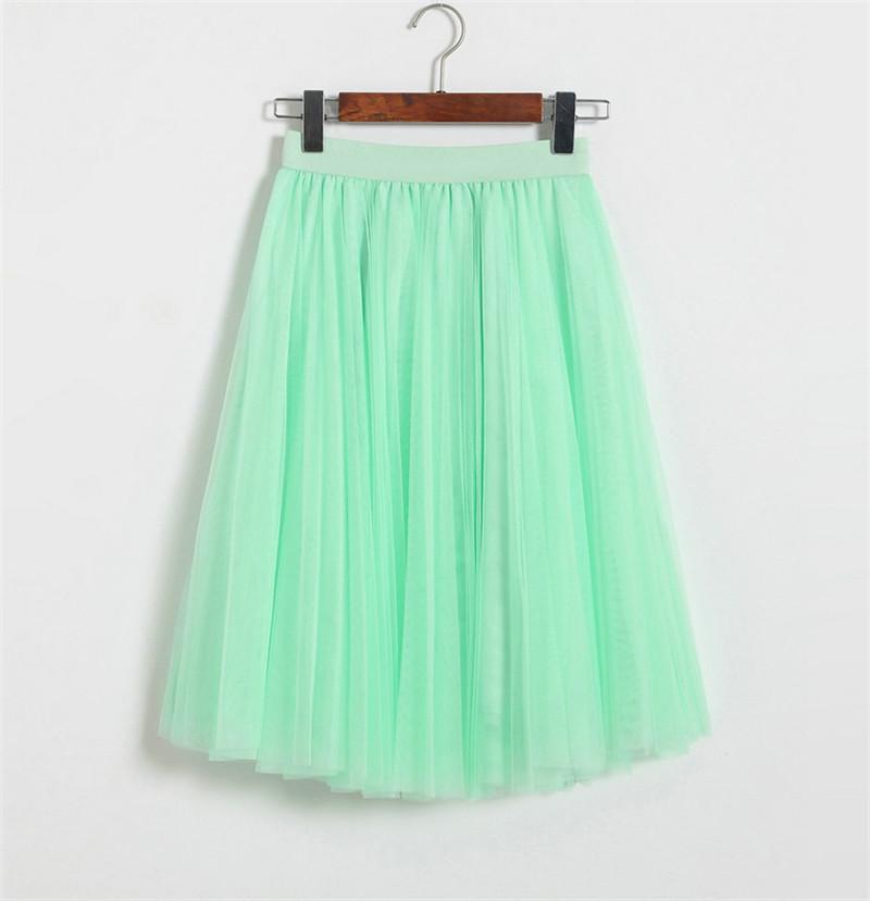 Vintage Women Tulle Skirt 2020 Autumn Elastic High Waist Mesh Skirts Long Pleated Tutu Skirt Female Jupe Longue JX8042 (16)