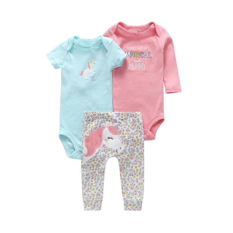 6-24 MONTH newborn outfits 3 pieces clothing set for infant baby boy girl cute Cartoon unicorn bodysuit+romper+pants cotton