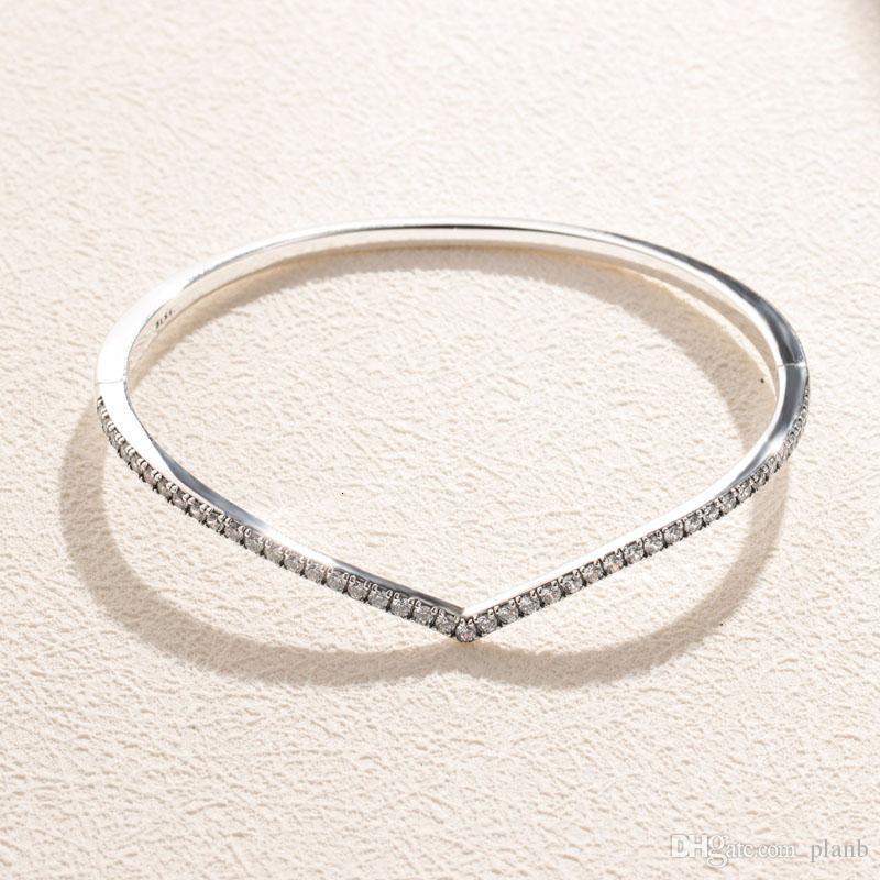Women Wedding Bracelet 935 Sterling Silver CZ diamond Jewelry for Pandora Sparkling bone Bangle Bracelets with Original box