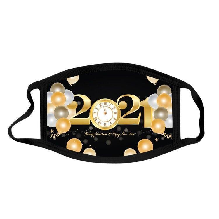 designer 2021 happy new yesars party mask fashion mask masque christmas decorations adult kid face masks print mascherina fireworks 2021
