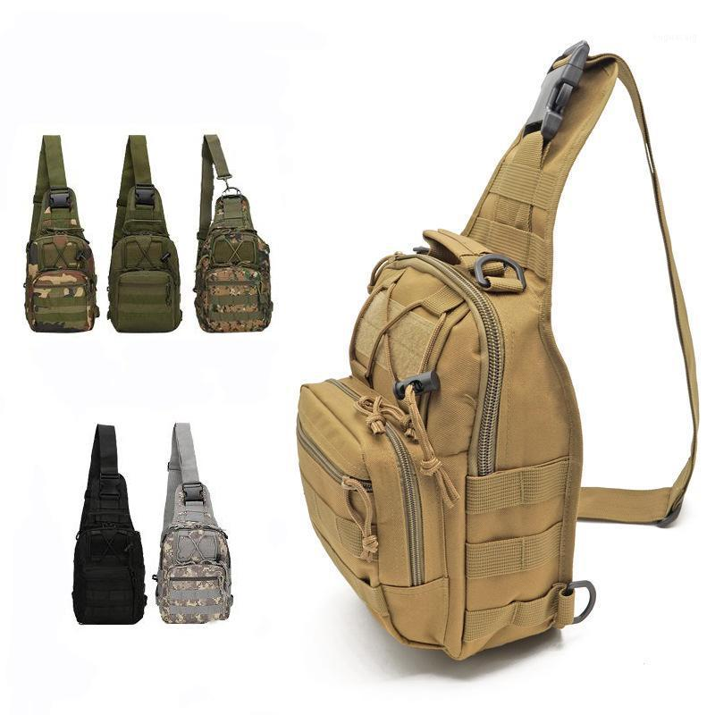 Outdoor New Canvas Riding Bag Camouflage Field Sports Small Waist Shoulder Diagonal Tactical Chest Camping Hiking Bag1, Black