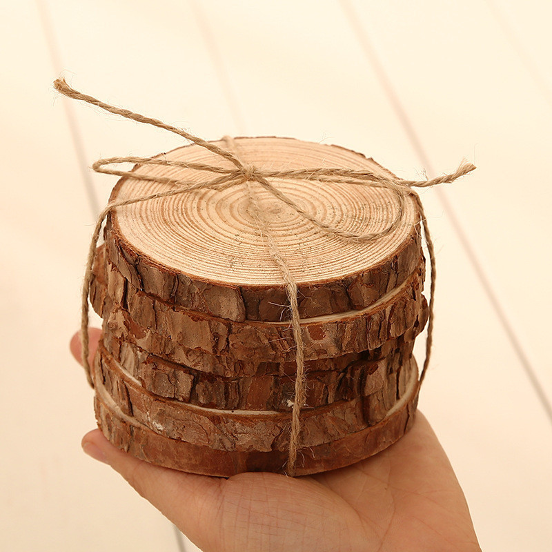 6pcslot Pine Wooden Chips Cut Pieces Wood Log Sheet Rustic Wedding Decor Party Centerpieces Vintage Country Style (2)