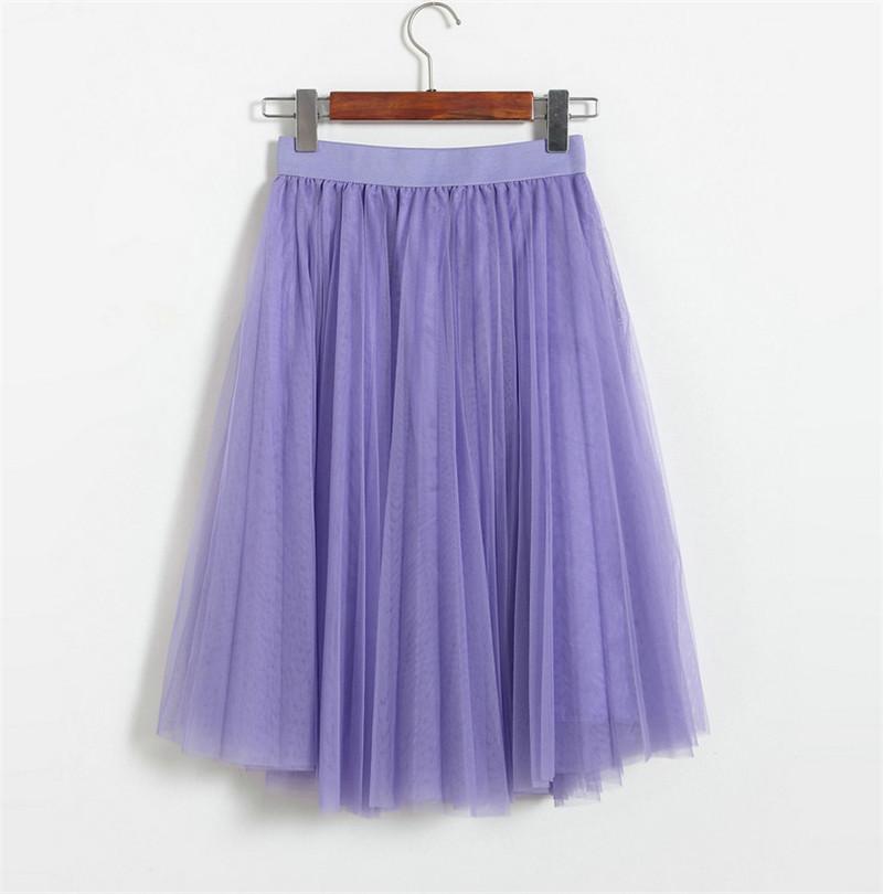 Vintage Women Tulle Skirt 2020 Autumn Elastic High Waist Mesh Skirts Long Pleated Tutu Skirt Female Jupe Longue JX8042 (20)
