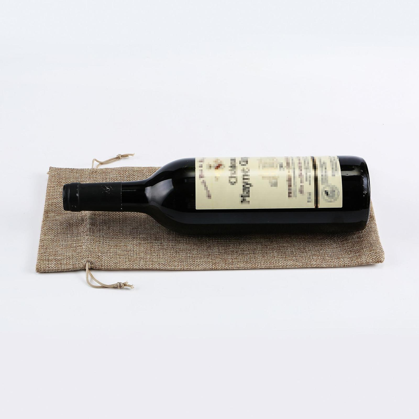Xmas Burlap Wine Bags Bottle Champagne Wine Bottle Covers Gift Pouch Packaging Bag Wedding Party Christmas Decoration 15*35cm W-00325