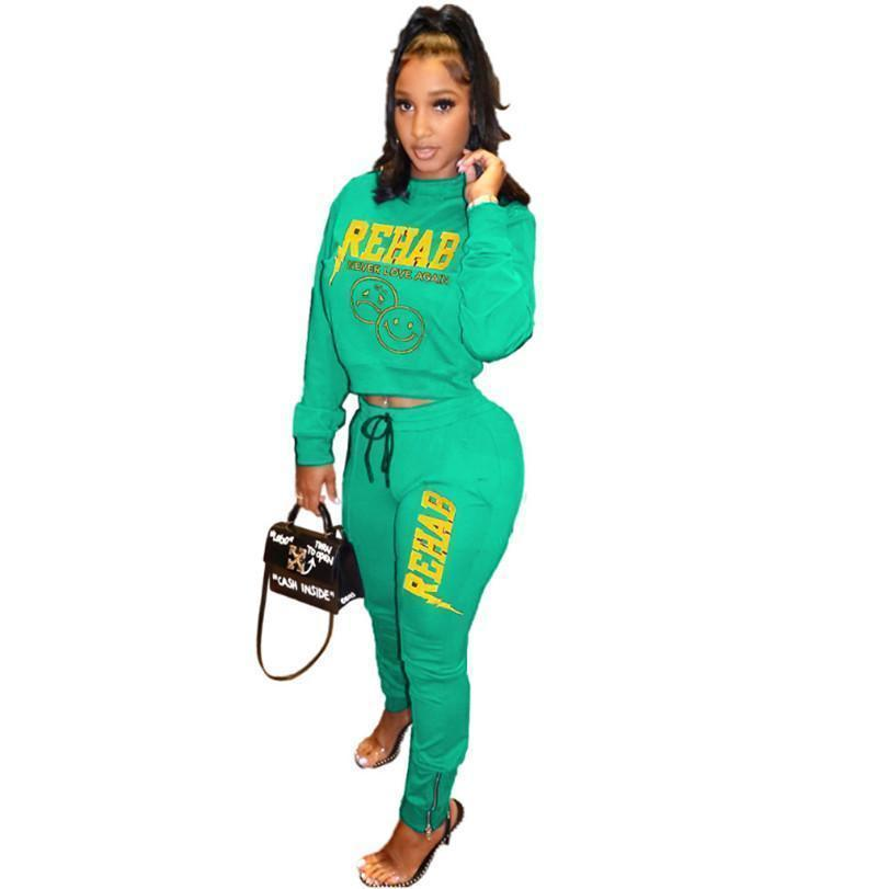 Womens outfits long sleeve set tracksuit jogging sportsuit shirt leggings outfits sweatshirt pants sport suit hot selling klw4945