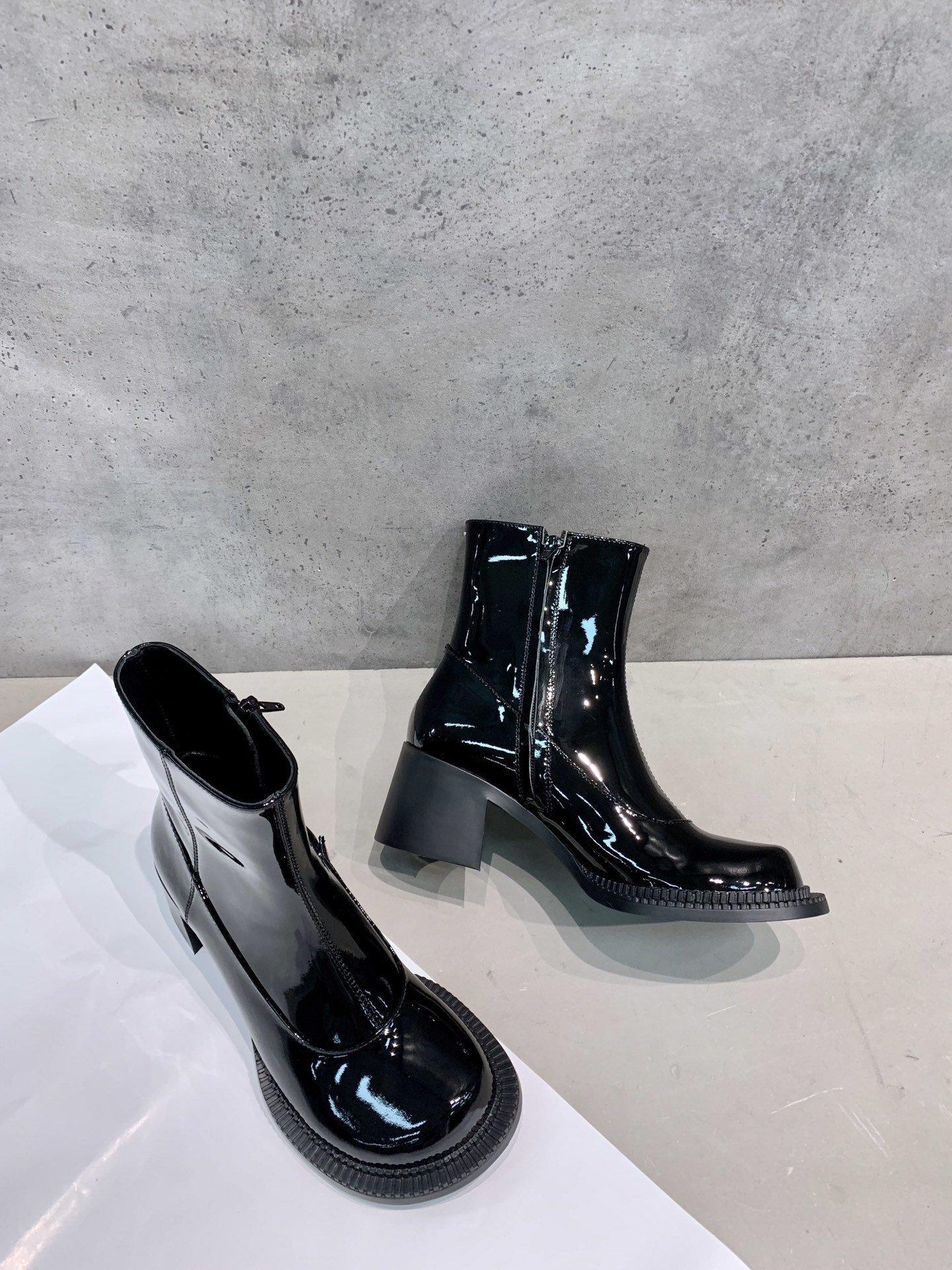 2020SS womens platform boots high quality Shiny leather and zipper design bottes pour femmes de luxe ladies martin booties#3F