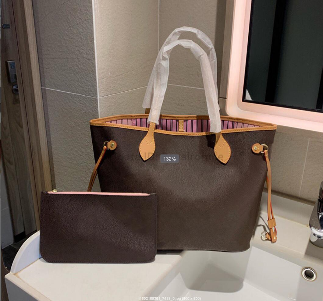 Woman Shopping Bag High Quality Leather purse tote new fashion shoulder bag serial number date code womens bag+Small bag Casual Tote bags