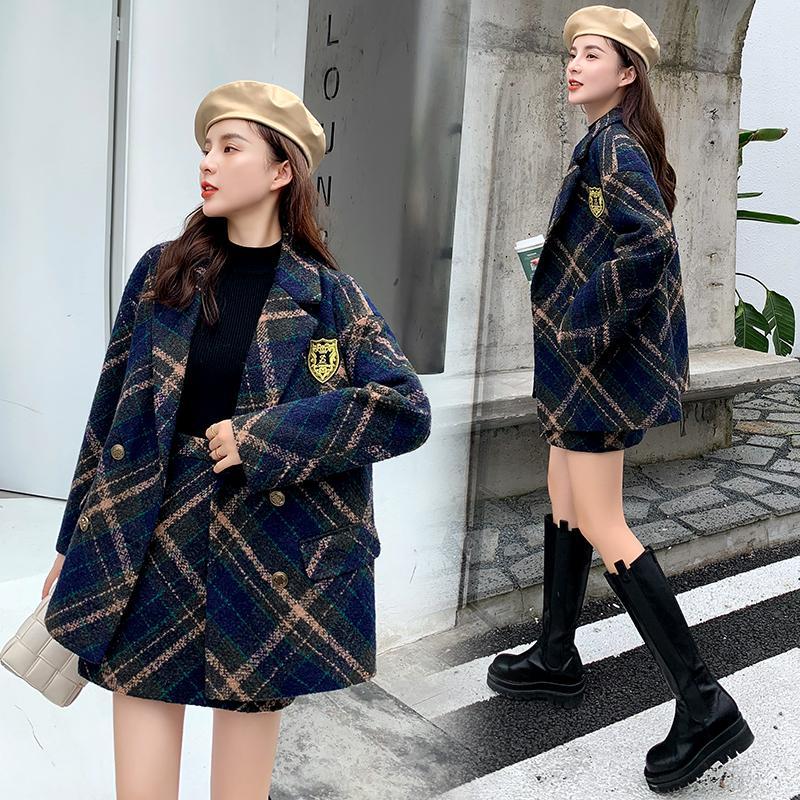 Women's Tracksuits Winter Korean Chic Cashmere Plaid 2 Piece Set Women Turn Down Collar Blazer Jacket + A-line Tweed Skirts Lady Suits