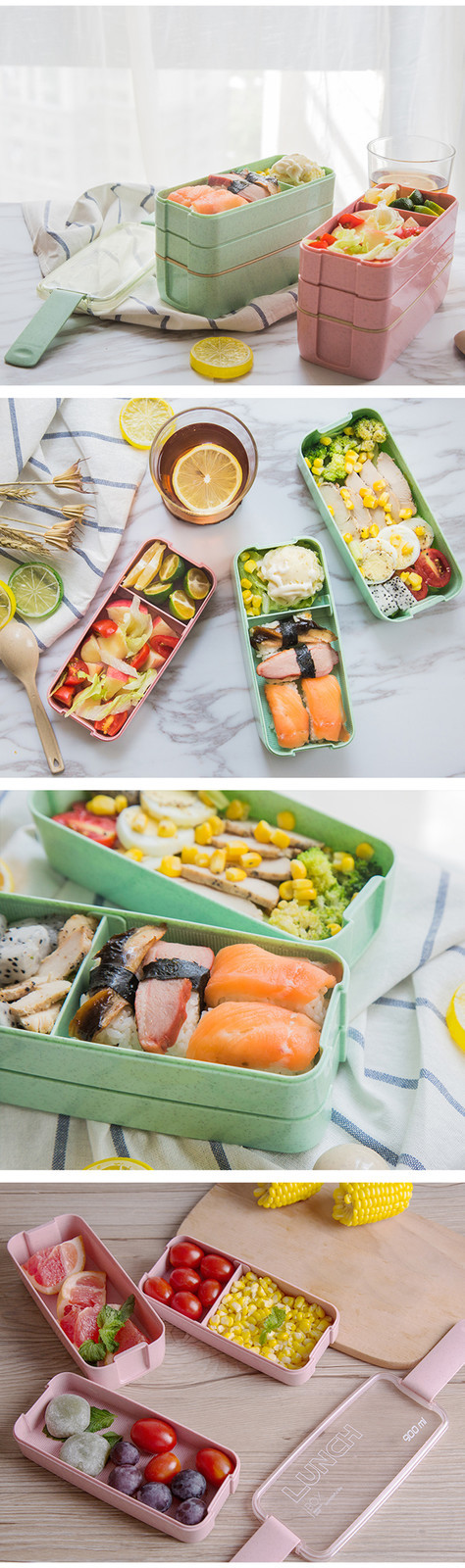 TUUTH 3 Layer 900ml Lunch Box Wheat Straw Fruit Salad Rice Bento Boxe Microwave Food Storage Container for School Office Fitness B7