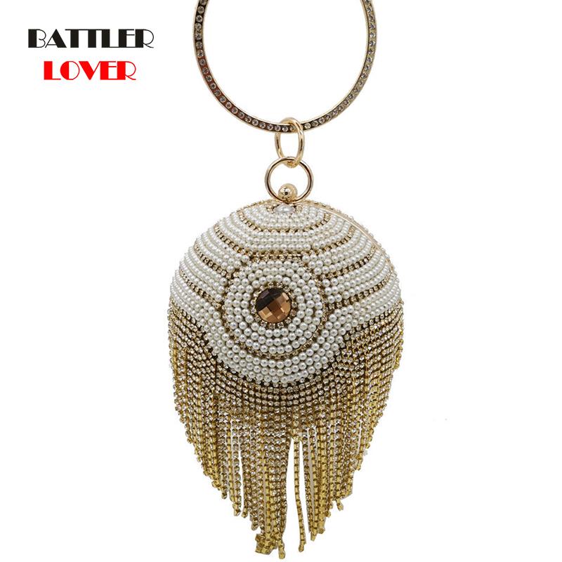 Bags for Women Vintage Pearl Diamond Tassels Round Ball Women Beaded Evening Purse and Handbag Wedding Bridal Crystal Clutch Bag