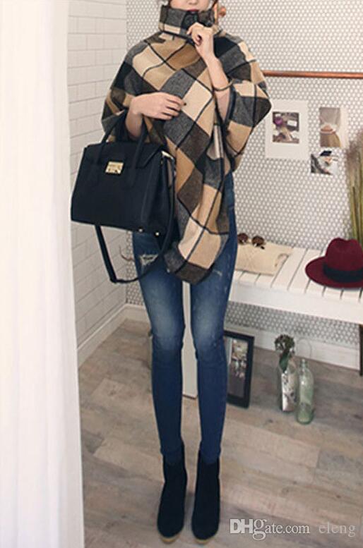 New Design Plaid Stoles Top quality Women`s Fashion Scarf Winter woolen cloak Warm Blankets Stripe Large Size