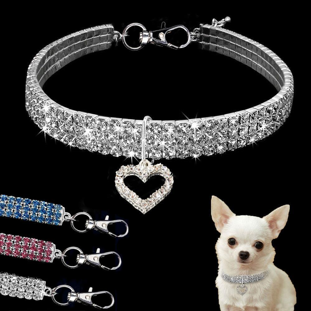 Dog Rhinestone Necklace Jeweled Bling Collars Crystal Diamond Pet Dog Collar with Elastic Rope Size S/M/L Pet Supplies