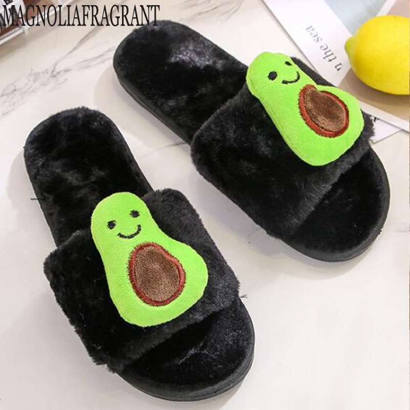 Fashion Women Avocado Slippers Home Plush Slippers Female Ladies Comfortable Soft Fur Indoor non-slip warm cotton slippers y387 X1020