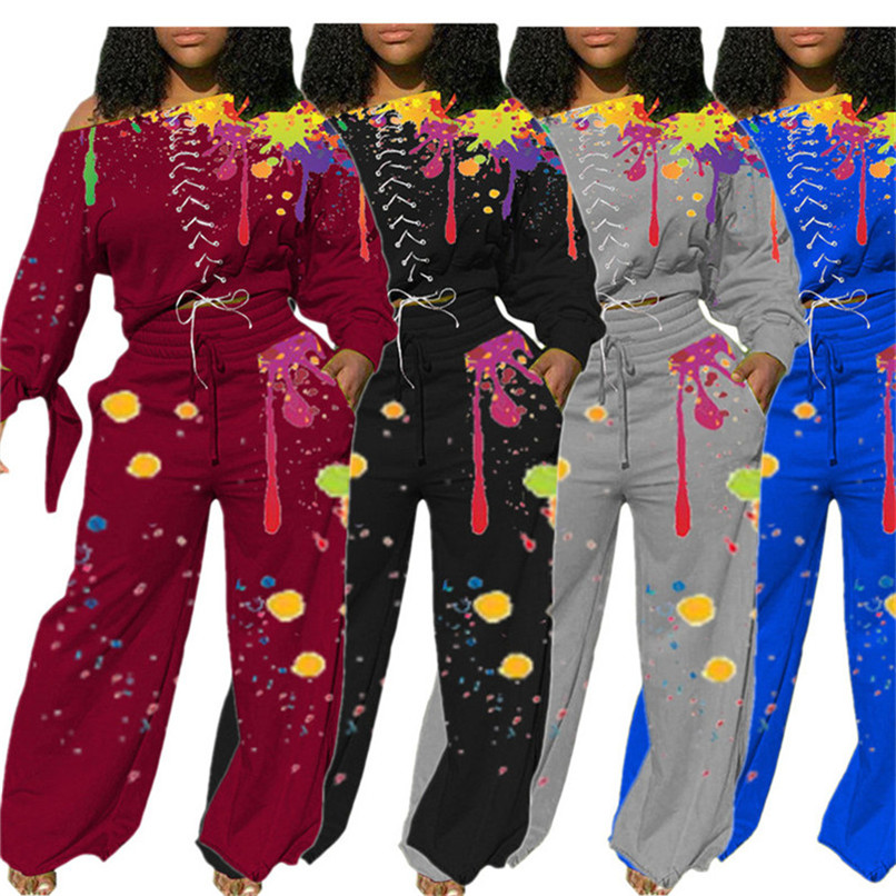 S-2XL Womens Crop Pullover and Wide Leg Pants Set Two Piece Outfits Spray Printed Splash Ink Tracksuit Hoodie Sweatsuit Casual Suit D102806