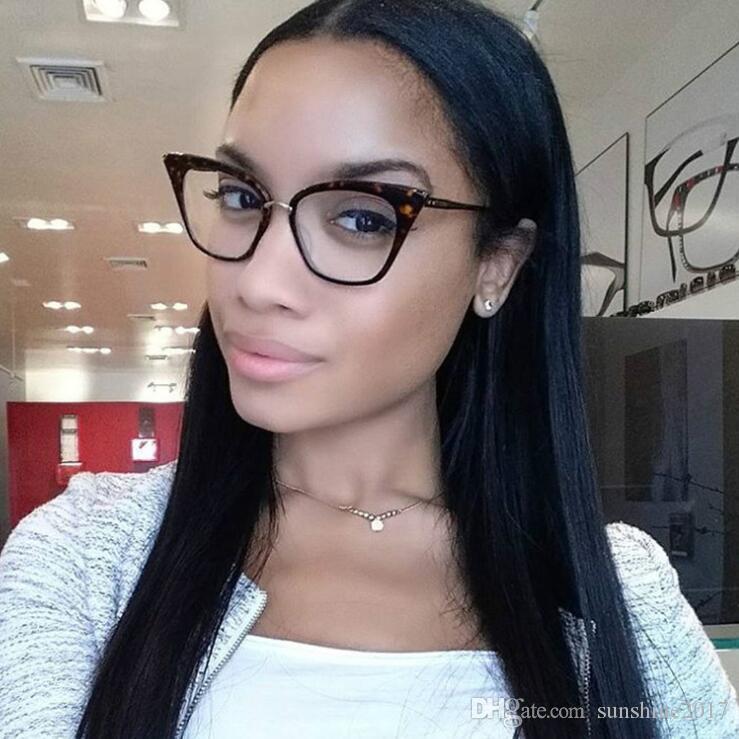 rivet cat eye Transparent Glasses Clear Fashion Eyeglasses Fake Optical Eye Glasses Frames For Women Myopia Glass women`s Spectacles Eyewear