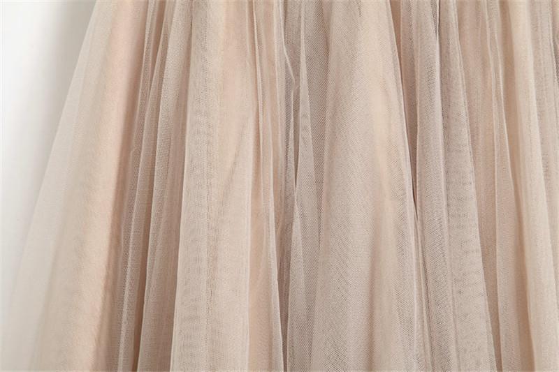 Vintage Women Tulle Skirt 2020 Autumn Elastic High Waist Mesh Skirts Long Pleated Tutu Skirt Female Jupe Longue JX8042 (5)