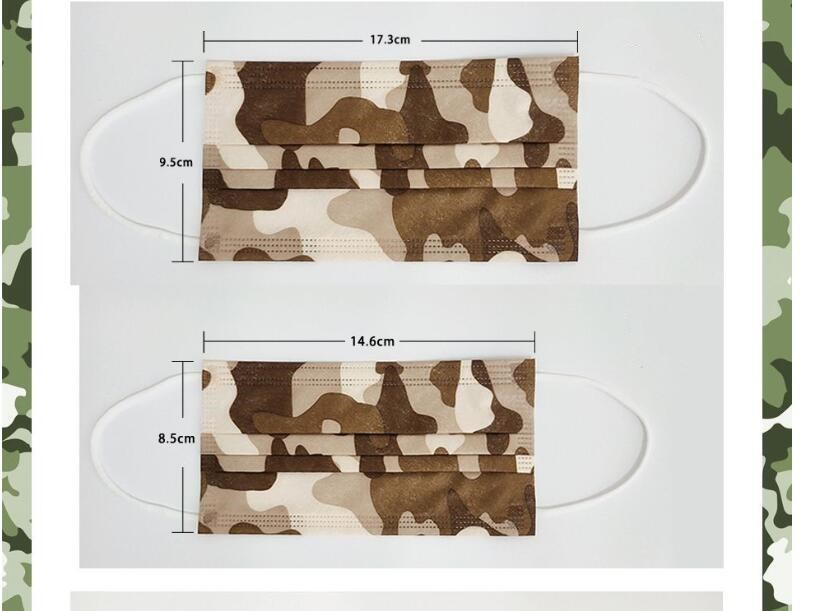 Camouflage camo adult kids printed disposable face mask mascarilla dustproof breathable disposable three-layer military shiled cover