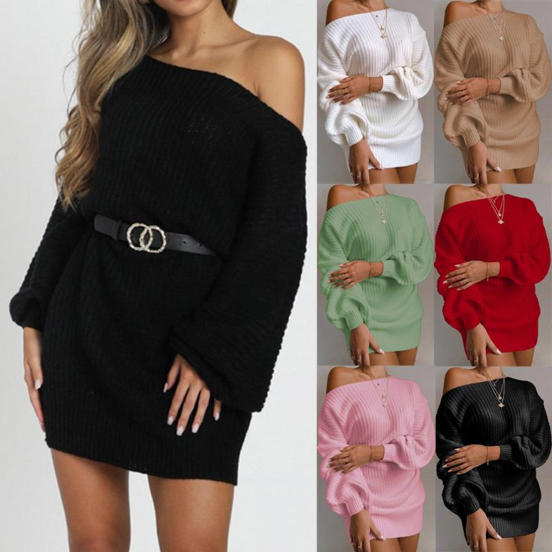Fashion Women Solid Lantern Sleeve Off Shoulder Long Sleeves Sweater Dress Autumn And Winter Casual Off-shoulder Knitted