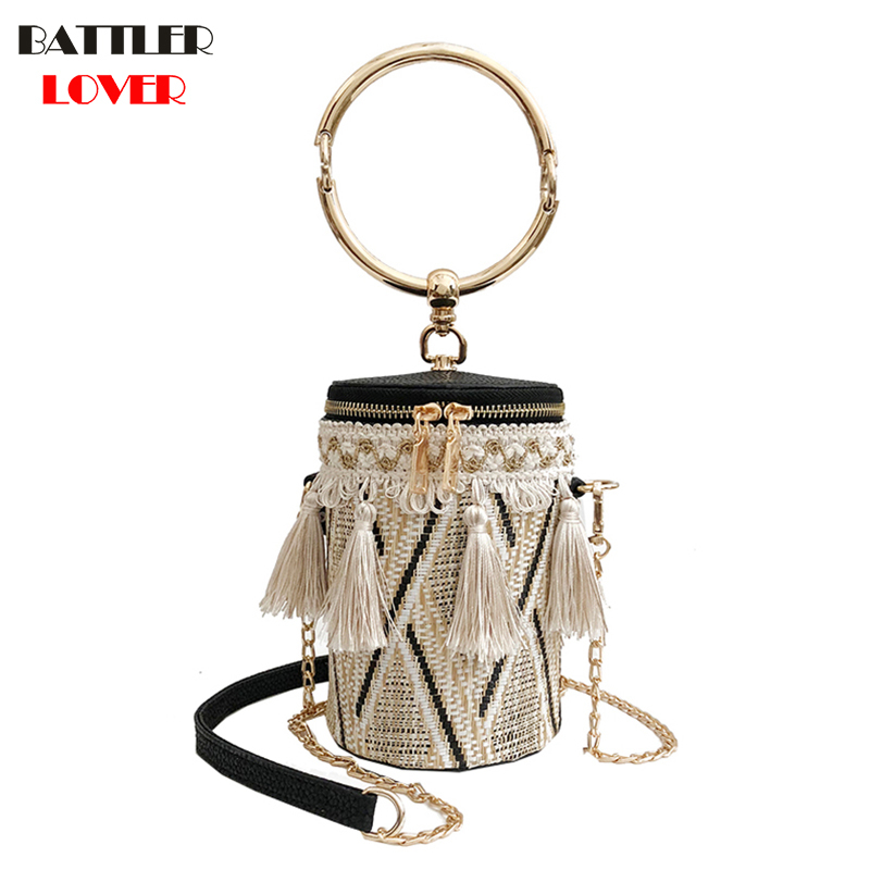 Japan Style Bucket Cylindrical Straw Bags Barrel-Shaped Woven Women Crossbody Bags Metal Handle Shoulder Tote Bag Ladies