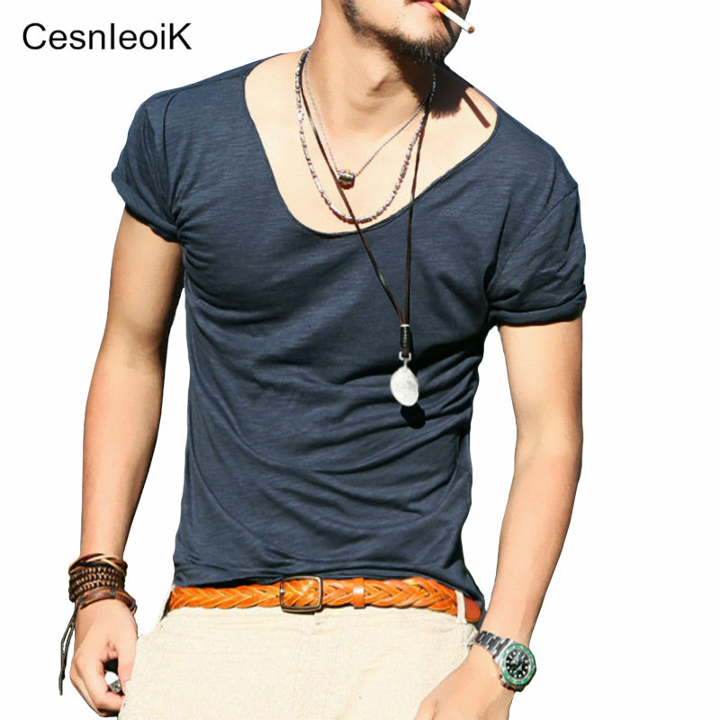 Men's Exclusive Pretty Tops V Neck T Shirts Stunning Cut Off Border Summer Style kg-371