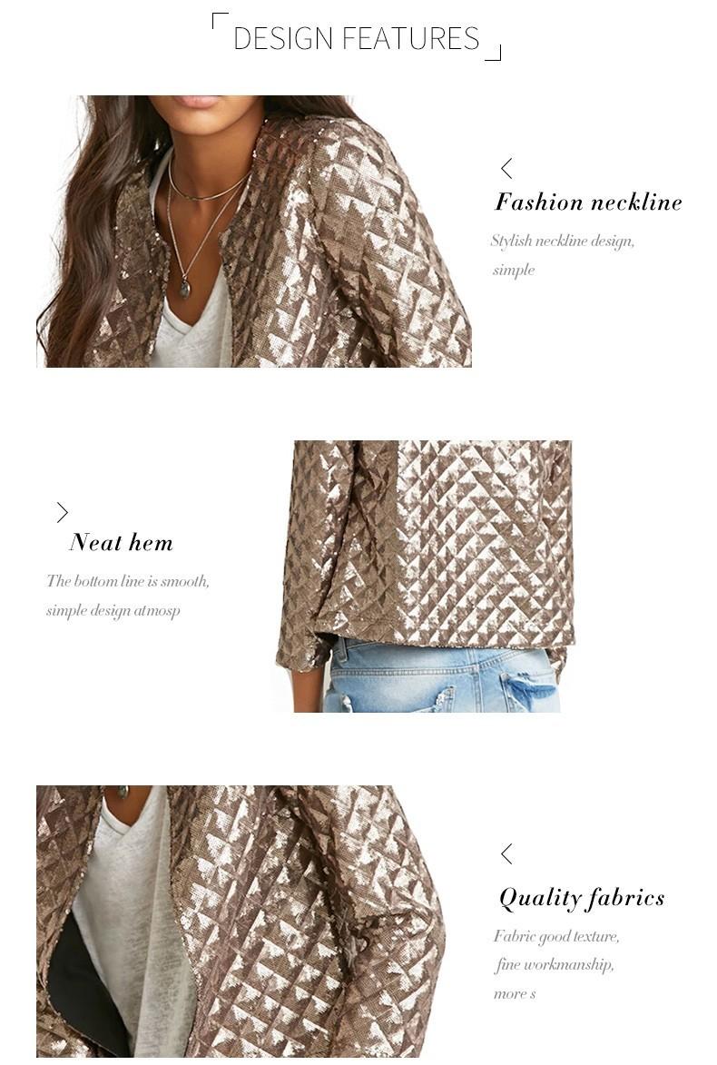 new European and American women golden brown jacket rhombus full sequins jacket wild self-cultivation sleeves short jacket (8)