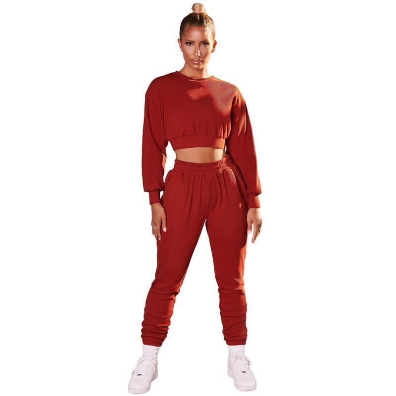Womens outfits long sleeve set tracksuit jogging sportsuit shirt leggings outfits sweatshirt pants sport suit hot selling klw5245