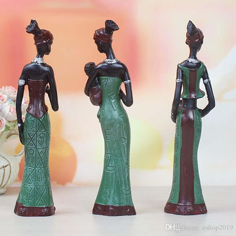 Retro African Lady With Vase Ornament Ethnic Statue Sculptures National Culture Figurine Home Decor Art Crafts Gifts