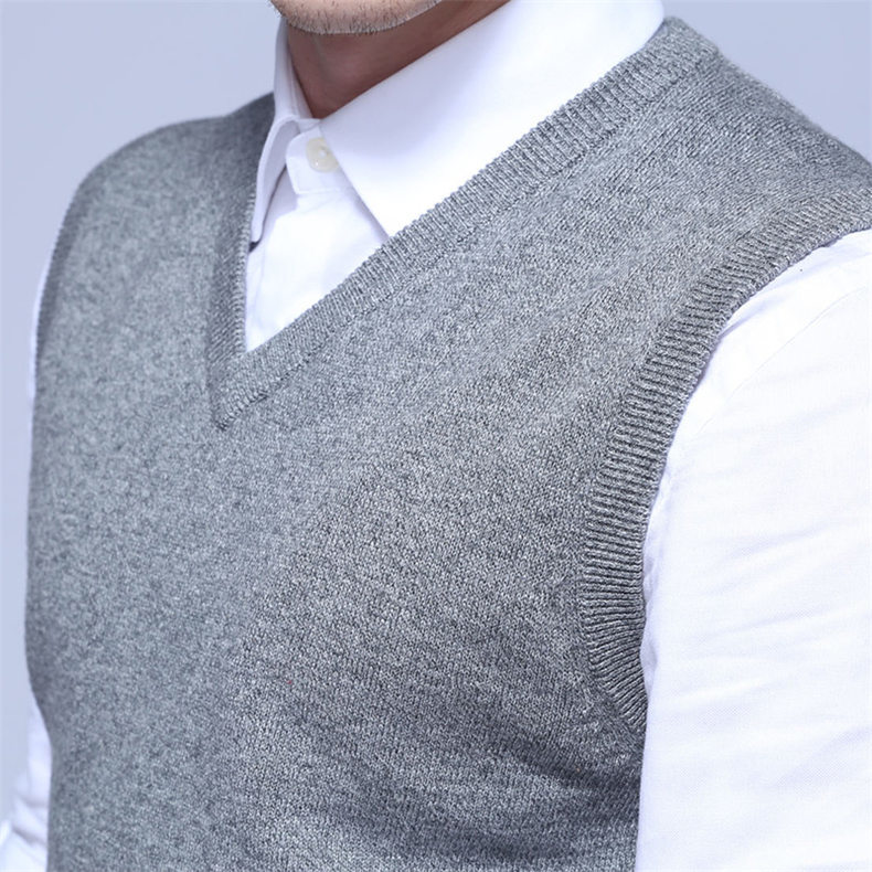4Colors Men Sleeveless Sweater Vest Autumn Spring 100% Cotton Knitted Vest Sweater Basic Male Classic V neck Tops New M-3XL-08