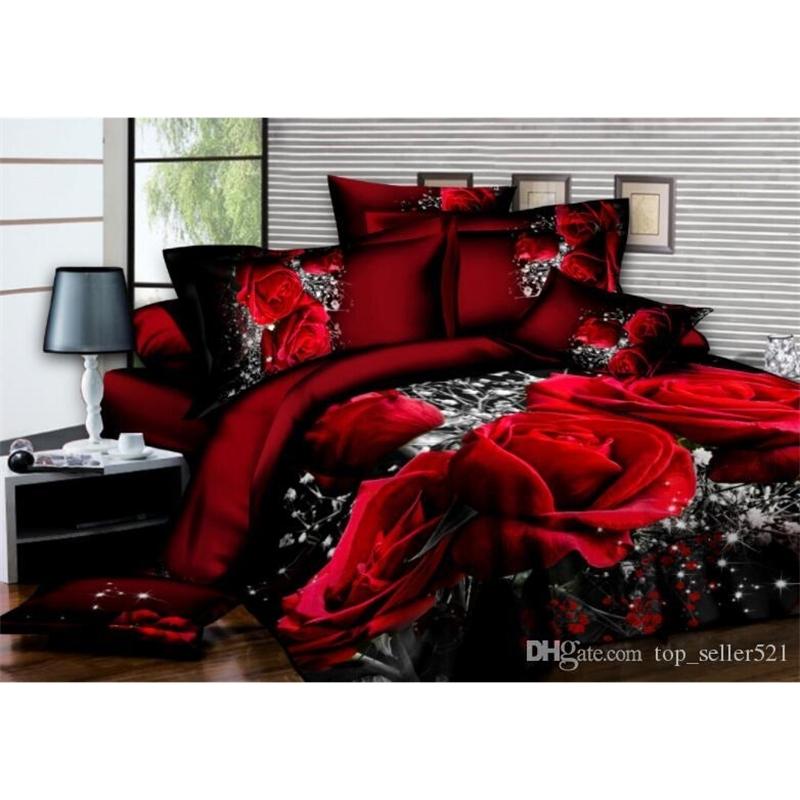 Home textiles quilt cover pillowcase sets 3D Bedding Sets 3d digital print Red rose wedding celebration winter thick Set wholesale