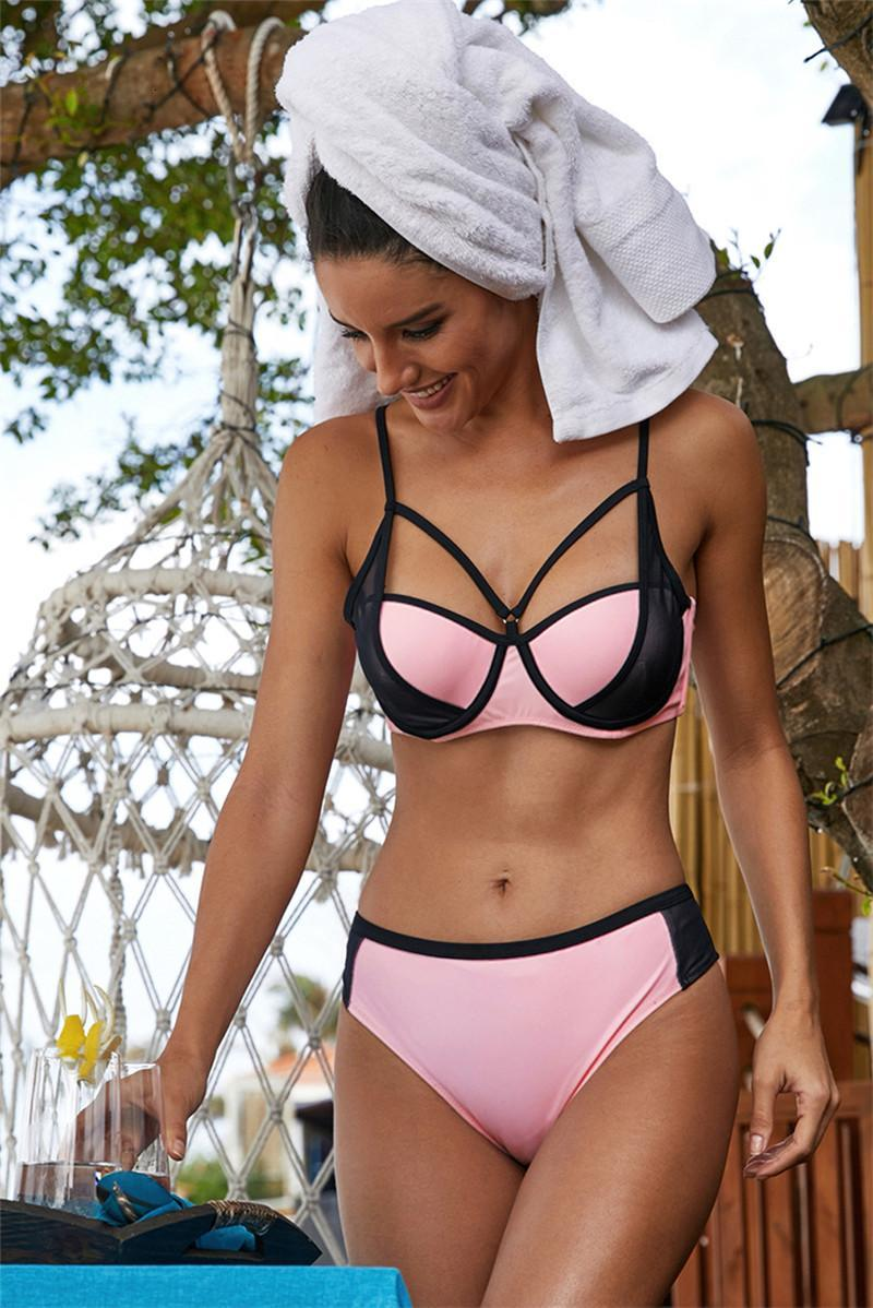 New Arrive Breathable Sexy Manufacturer Designer Women Bikini Grid Color Matching High Quality Swimsuit