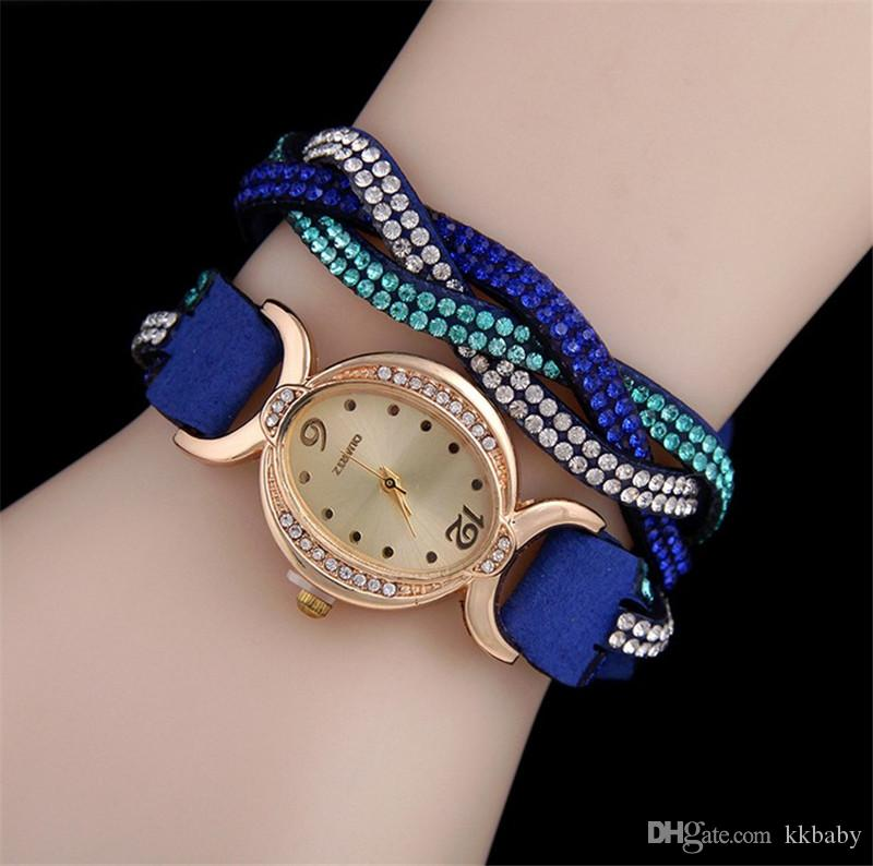 Crystal Women Wrap Watches Korea Velvet Band Lady Leather Wrist Watches Oval Diamond Dial Charming Bracelets Watches Mix Colors