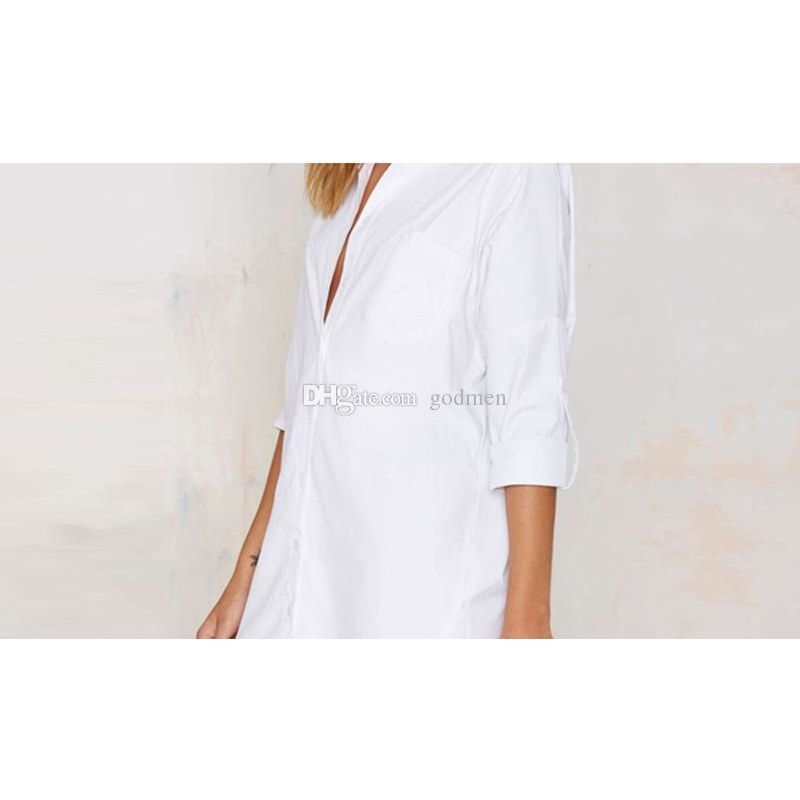 European And American Sexy Ladies Blouse White Women Blouses Casual Women Desiger Long Blouse Size S-2XL