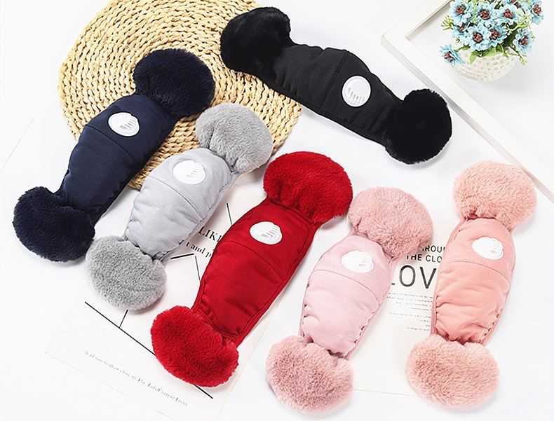 2 In 1 Valve Face Mask With Plush Earmuffs Winter Warm Mouth Masks Mouth-Muffle Earflap Outdoor Cycling Face Mask With Filter FY9222