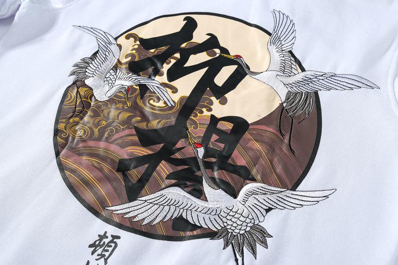 Embroidery Japanese Cranes Pullover Fleece Hoodies 11