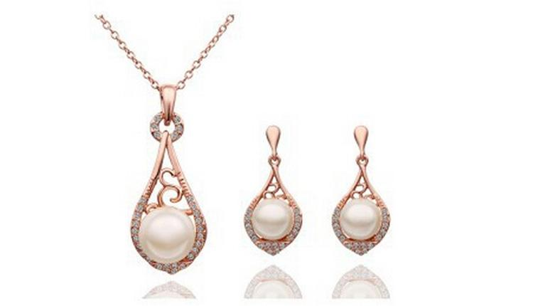 Pearl Necklace Earrings Sets Hollow and elegant Jewelry Set gold wedding Crystal Rhinestone Earrings Necklace Set G100