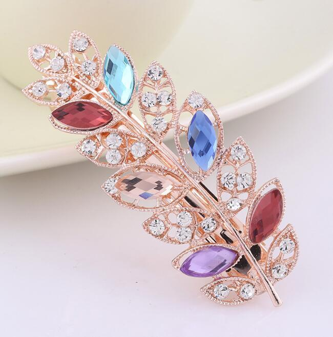 Women Crystal Leaf Hairclip Bridal Wedding Headpieces Top Quality Rhinestone Leaves Hair Clips Barrettes for Girls Bridesmaid Party Jewelry