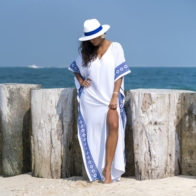 Kaftan Beach Cover up Summer Women Beachwear Cotton Tunic Oversize Bikini Cover-ups Robe de Plage Sarong Beach Tunic-3