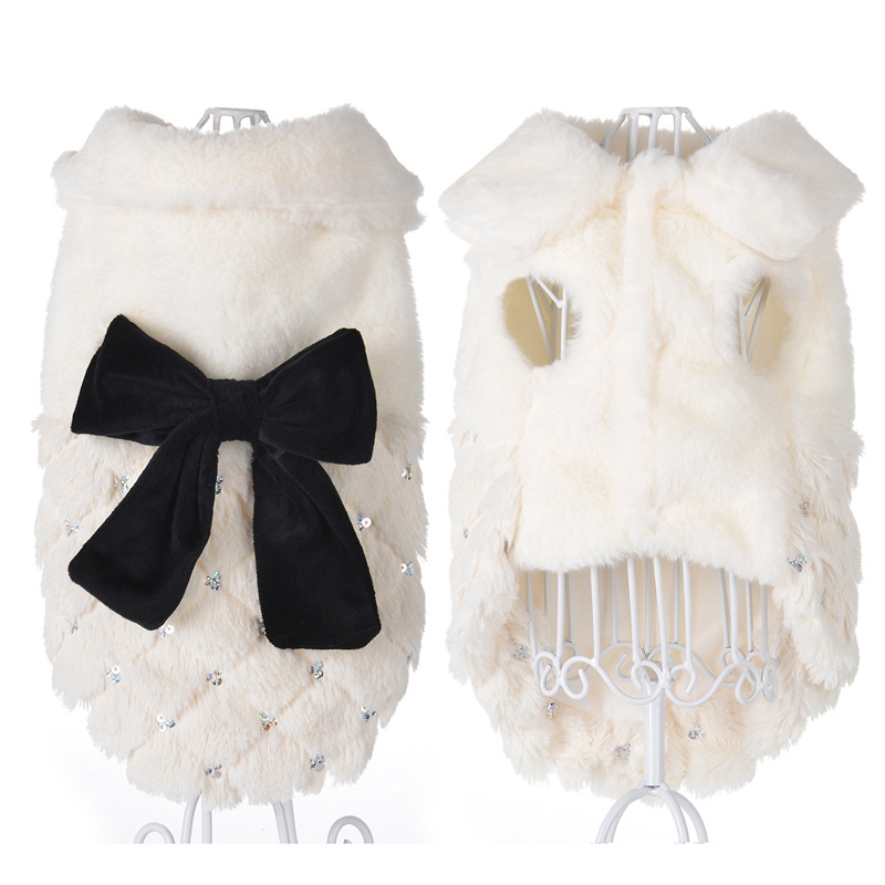 Pet Clothes Elegant Luxury Fur Winter Overcoat Small Dog Cat Clothes Bowknot Chihuahua Puppy Pet Dog Accessories