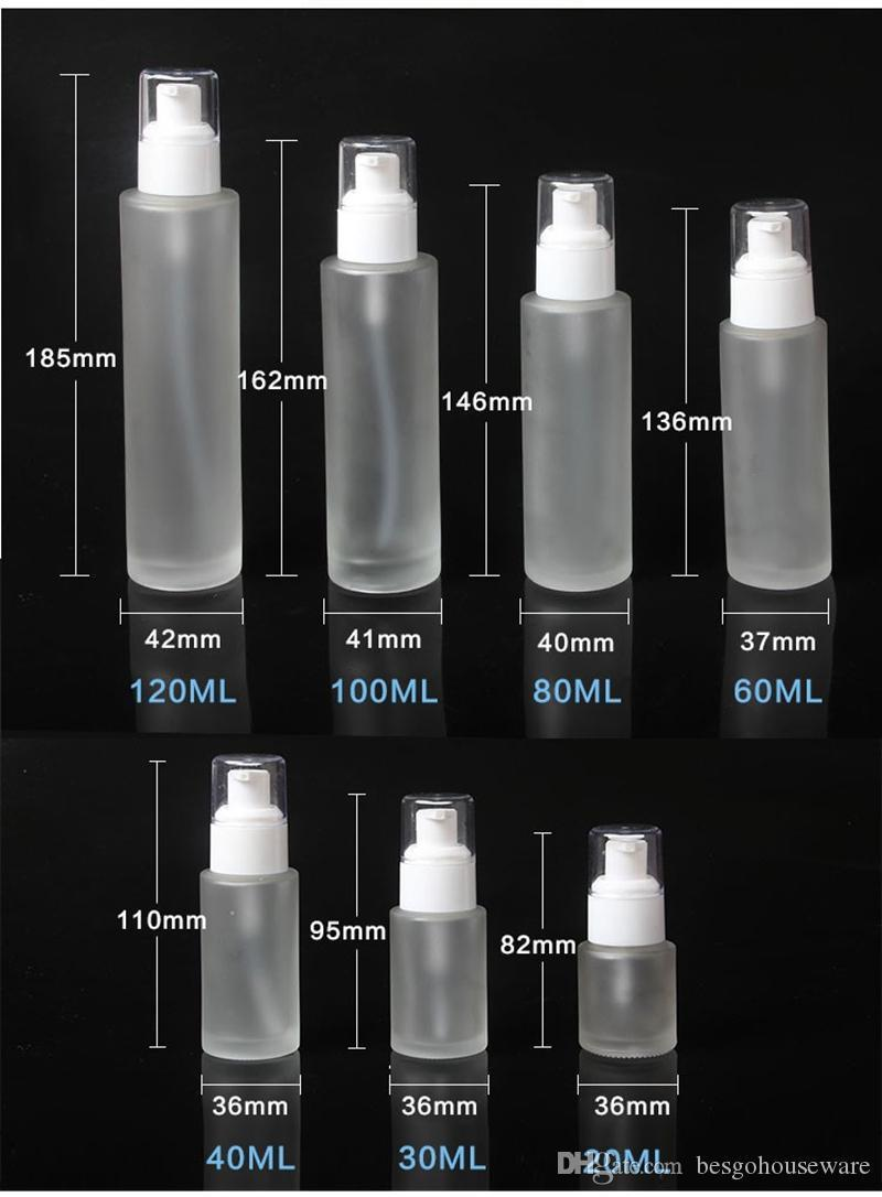20ml 30ml 40ml 60ml 80ml 100ml 120ml Frosted Glass Cosmetic Bottle Lotion Pump Bottle Refillable Liquid Perfume Spray Bottles DBC BH3749