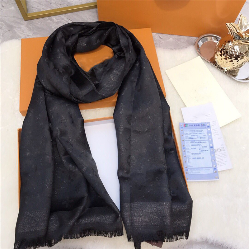 Hot Sale Silk gold thread Scarf Fashion Man Womens 4 Seasons Shawl Scarf Scarves Size about 180x70cm 5 Color aiden
