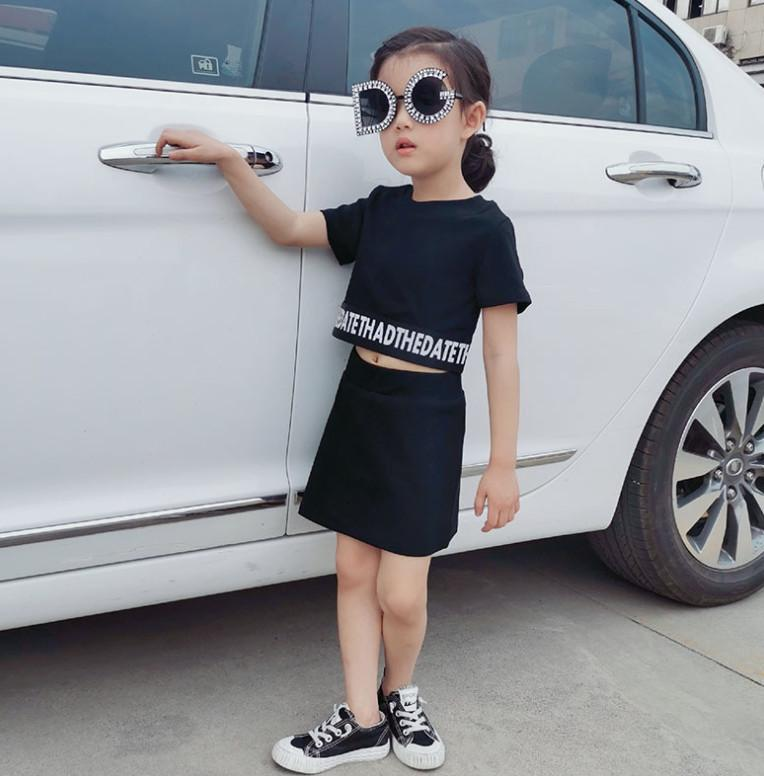 INS Baby girls summer outfits 2020 new Baby kids letter printed short sleeve T-shirt+black skirts lady style children sets A2920