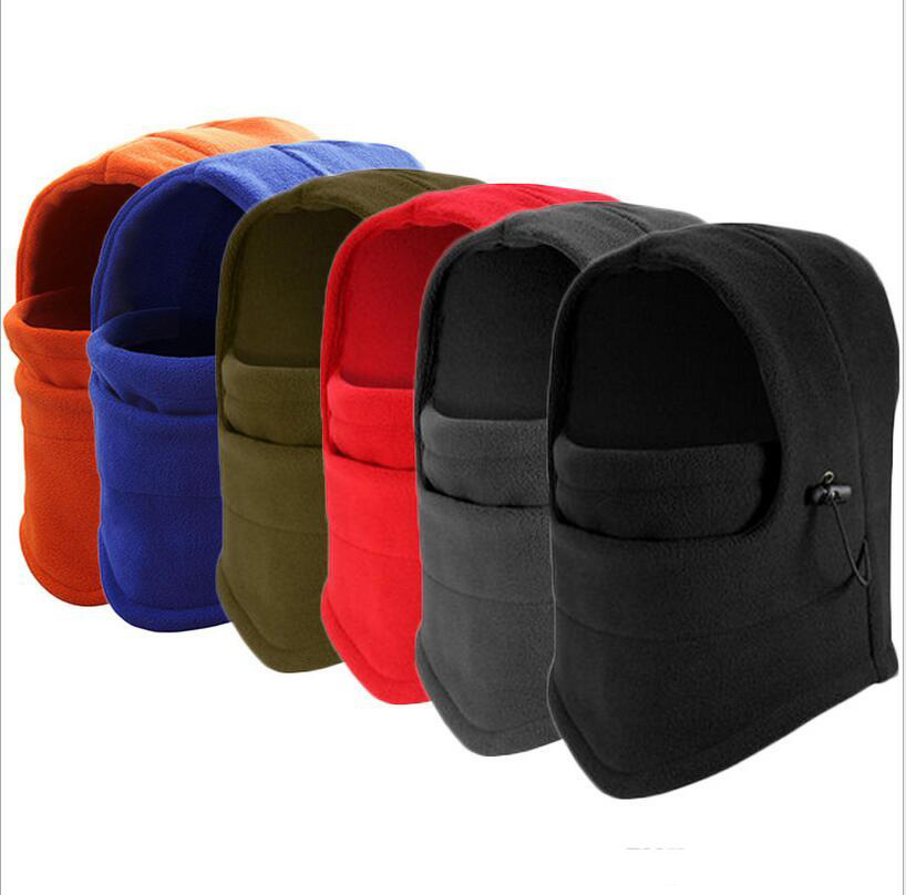 Winter Outdoor Thermal Warm 6 in 1 Balaclava Hood Police Swat Skiing Cap Fleece Ski Bike Scarf Wind Stopper Ski Mask Hats