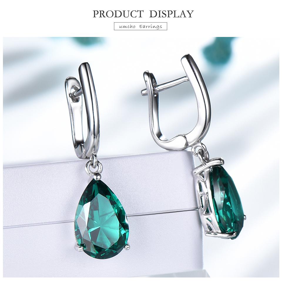 UMCHO Emerald 925 sterling silver earring for women EUJ094E-1-pc (3)