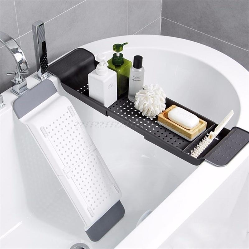 Tub Bathtub Shelf Caddy Shower Expandable Holder Rack Storage Tray Over Bath Multifunctional Organizer A10 19 Dropship T200413